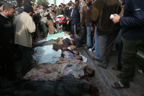 A group of martyrs who were killed by the Israel planes during the Gaza war