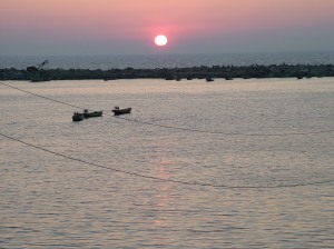 Sunset in the Gaza Sea before the aggressive war