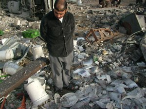 One of the neighbours looking at the cheese in site of the attack