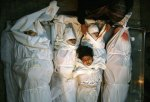 A group of Palestinian children killed when the Israeli war planes attacked their house in Gaza
