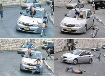 An Israeli settler hits Palestinian children in Jerusalem last year