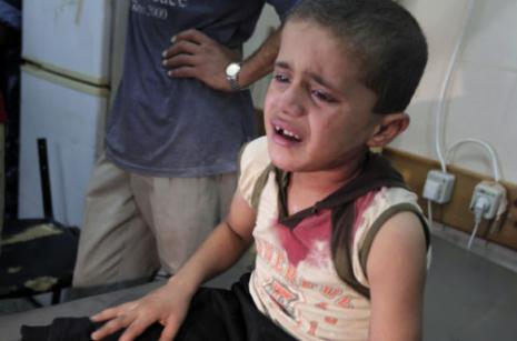 A child wounded in an Israeli air strike against Gaza